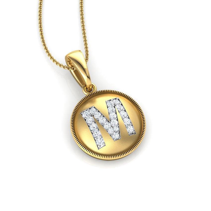 שרשרת אות M שרשרת זהב עם אות M משובצת יהלומים