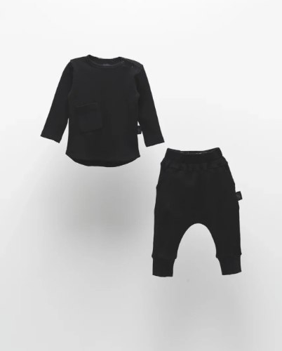 חליפת וופל כיס שחור