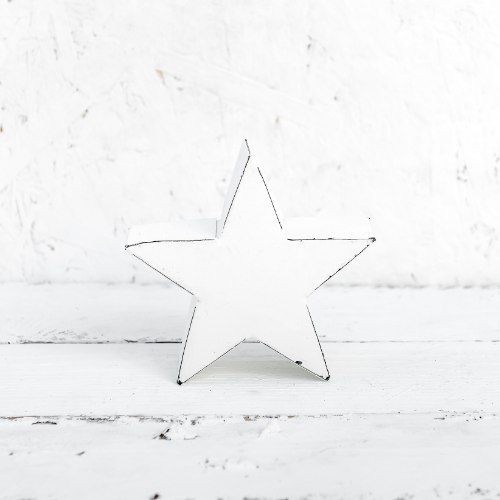 כוכב מתכת קטן לבן משופשף