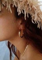 עגילי חישוק זהב עבה ג'ין