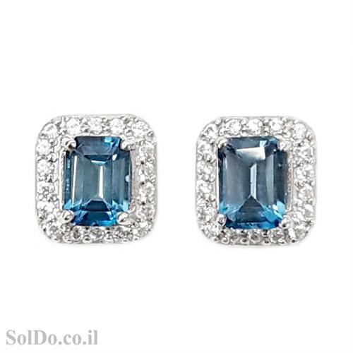 עגילי כסף צמודים משובצים אבני טופז כחולות וזרקונים A8616   תכשיטי כסף 925   עגילי כסף
