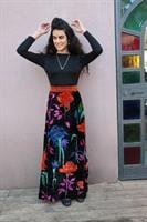 שמלת ערב מקסי מרשימה עם קטיפה צבעונית מידה S