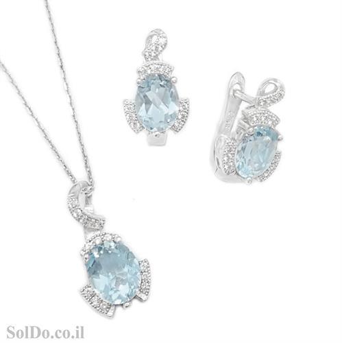 עגילים ותליון מכסף משובצים אבן טופז כחולה מרכזית בצורת טיפה ואבני זרקון S1671