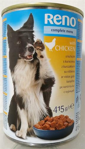 מזון מלא שימורים לכלב נתחים בטעם עוף RENO משקל 415 גרם ליחידה
