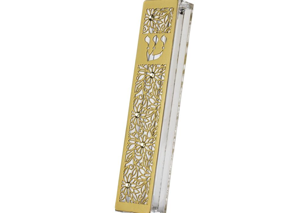 """בית מזוזה ציפוי זהב דגם מגזרת פרחים לקלף 12 ס""""מ"""