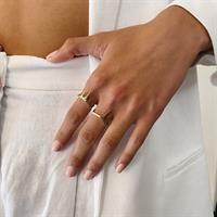 טבעת Three Bars זהב 14K
