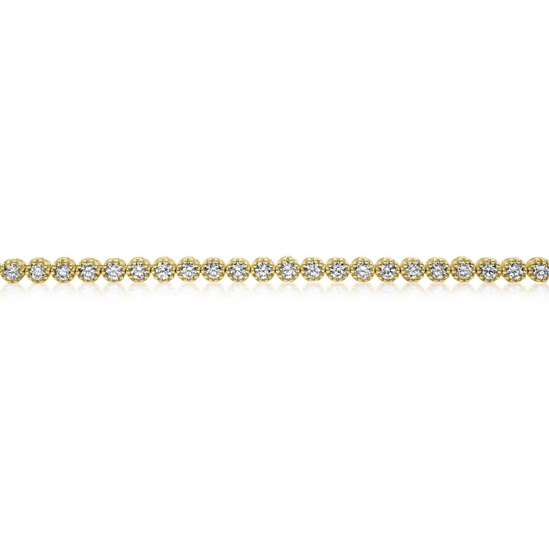 צמיד טניס זהב לבן 14K בשיבוץ אבני זרקון עגולות