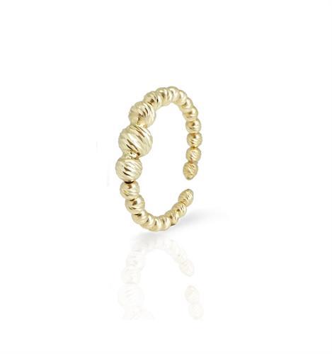 טבעת זהב כדורים פתוחה|טבעת כדורים דגרדה
