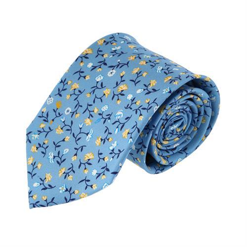 עניבה עלים תכלת צהוב