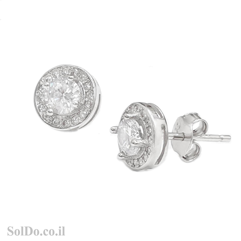 עגילים מכסף צמודים משובצים אבני זרקון A8787 | תכשיטי כסף 925