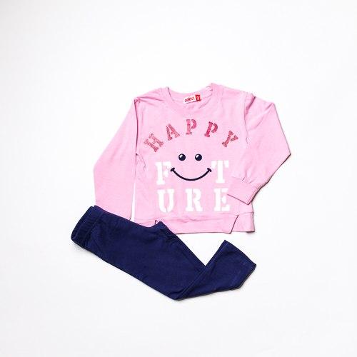 חליפת בנות לייקרה HAPPY  תכלת