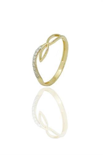 טבעת אינפיניטי זרקונים זהב צהוב ולבן משולבת , זהב 14 קאראט