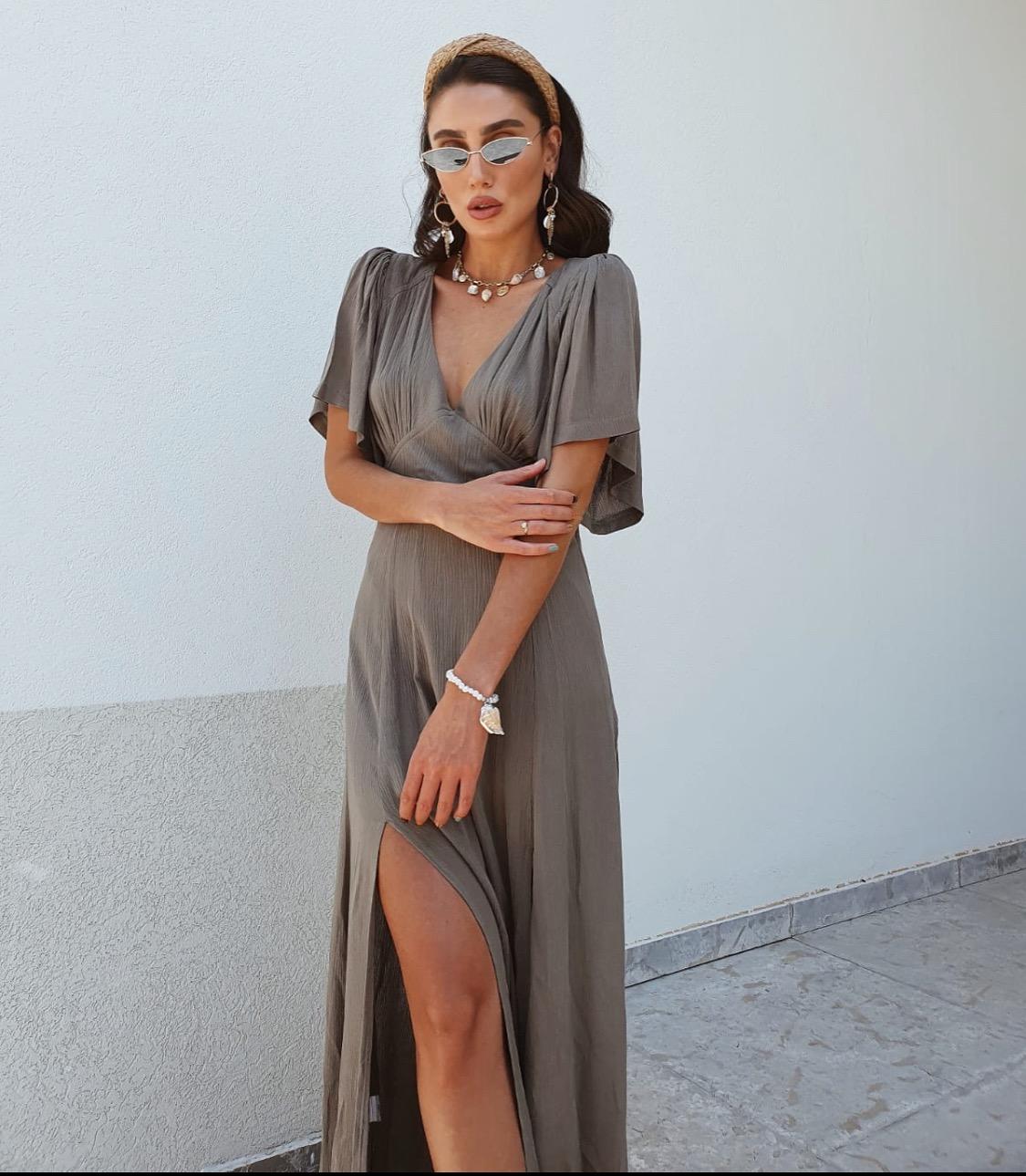 שמלת שילה מקסי - זית