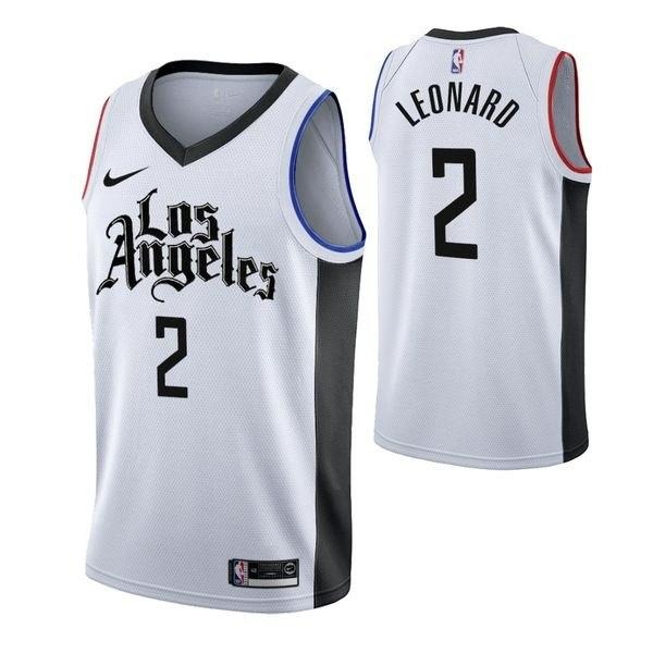 גופיית NBA לוס אנג'לס קליפרס לבן שחור 20/21 - #2 Kawhi Leonard