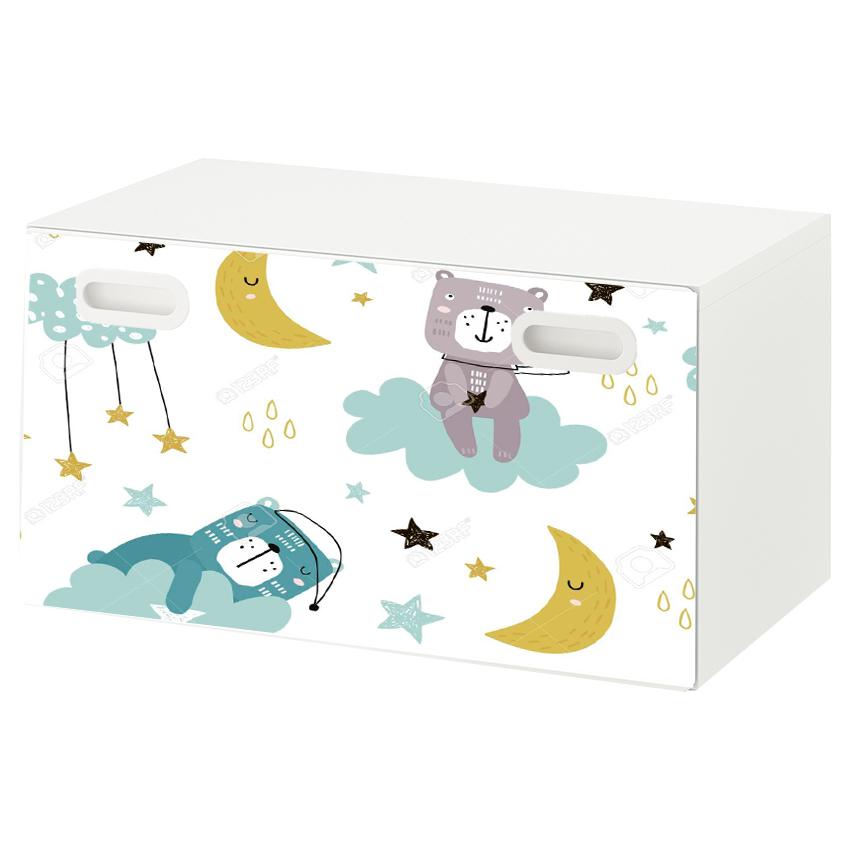 טפט דביק מותאם לספסל אחסון לצעצועים (STUVA)- דובים בחלל