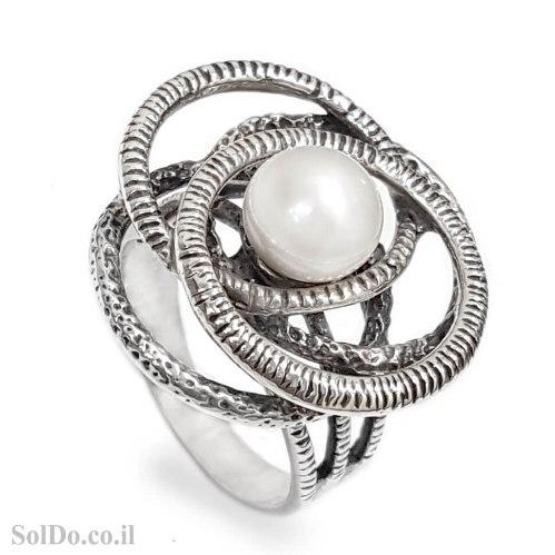 טבעת מכסף מעוצבת משובצת פנינה לבנה  RG6279   תכשיטי כסף 925   טבעות כסף