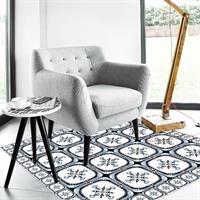 """שטיח פי וי סי """"אריחים כחולים מצוירים""""  שטיח למטבח  שטיח פי וי סי   שטיח PVC   שטיחי פי וי סי מעוצבים"""