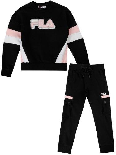חליפת פוטר שחורה לוגו שחור/ורוד/לבן FILA בנות - 2-8 שנים