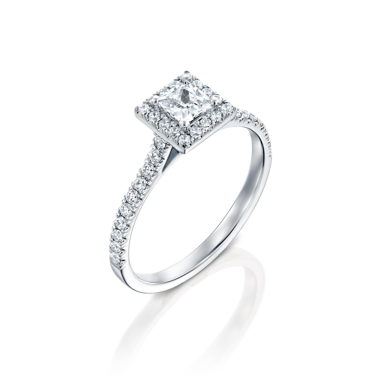 טבעת אירוסין זהב לבן 14 קראט משובצת יהלומים PRINCES HALOW