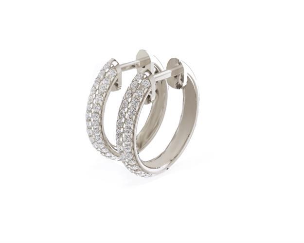 עגילי יהלומים | עגילי חישוק יהלומים | עגילי ג'יפסי ויהלומים |עגילים משובצים