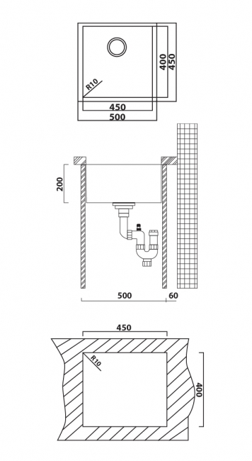 כיור מטבח יחיד תוצרת אולין דגם זירו 105