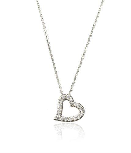 שרשרת זהב עם תליון לב משובץ יהלומים 0.12 קראט