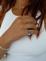 טבעת כסף בלאק