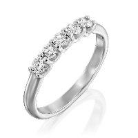 טבעת חצי איטרנטי מזהב 14 קראט משובצת ב- 5 יהלומים טבעיים