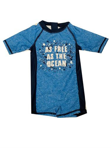 בגד ים אוברול כחול הדפס