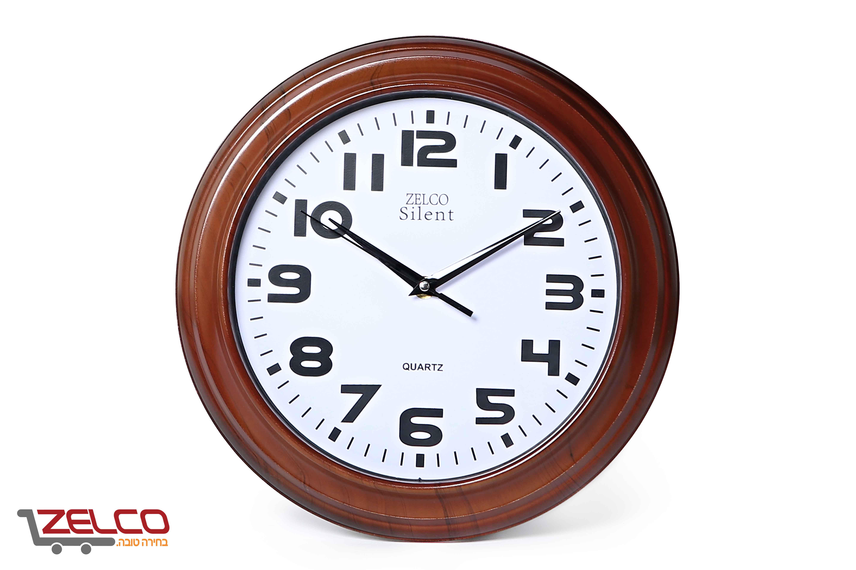 שעון קיר דמוי עץ צבע דובדבן