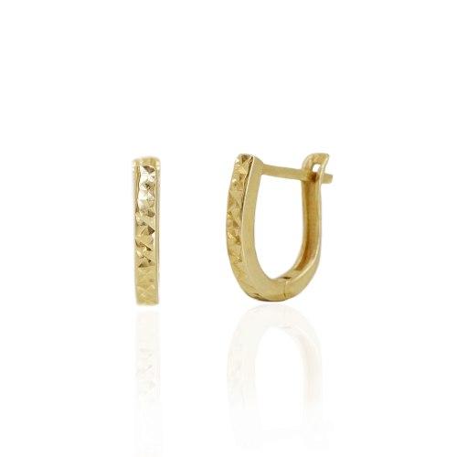 """עגילי בננה זהב קטנים מעוגלים עם חריטת לייזר 1.3 ס""""מ"""