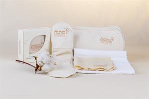 חבילת לידה: שמיכה, חיתול, מגבון, אריזת הנקה, 3 תחבושות לאחר לידה