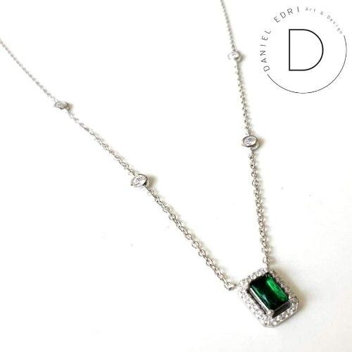 שרשרת מלבן משובץ- ירוק כסף 925