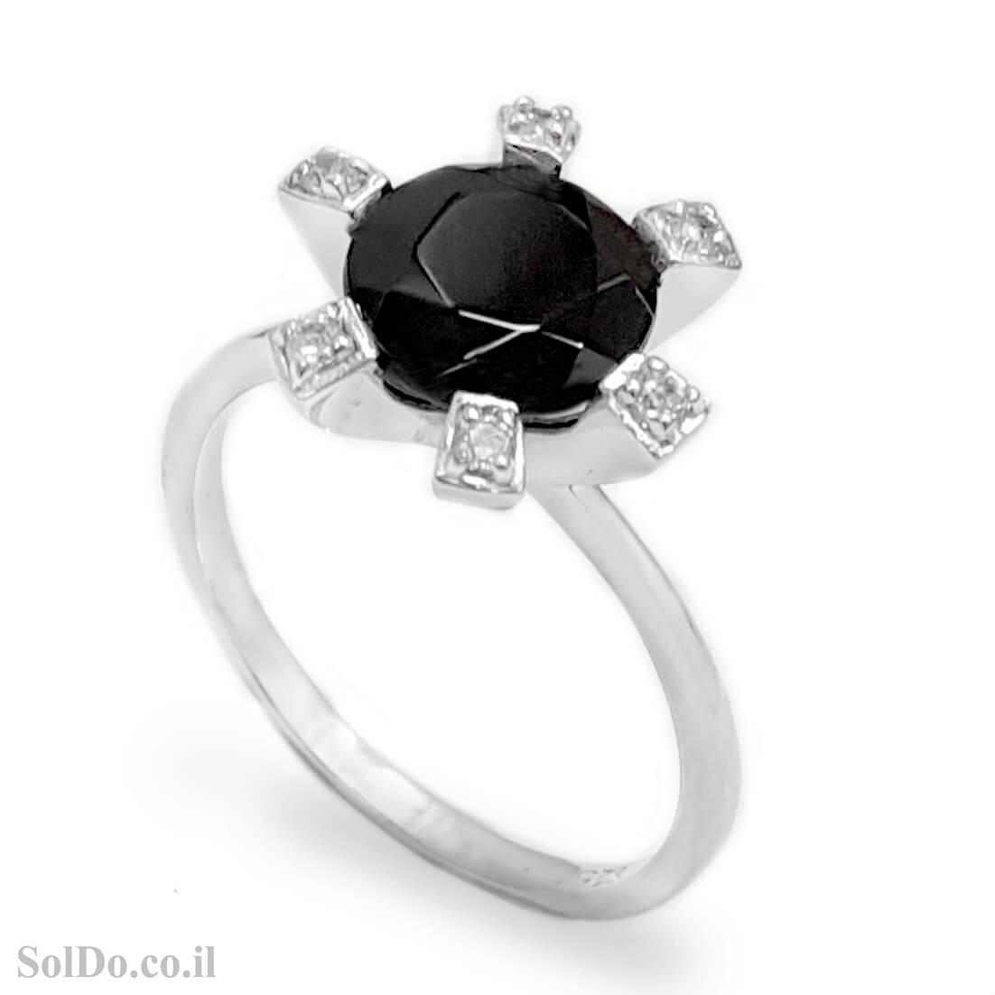 טבעת מכסף משובצת אבן אוניקס שחורה  וזרקונים RG8734 | תכשיטי כסף 925 | טבעות כסף