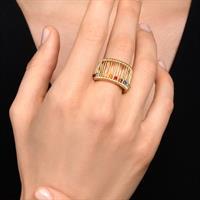 טבעת משי צהוב ריינבו