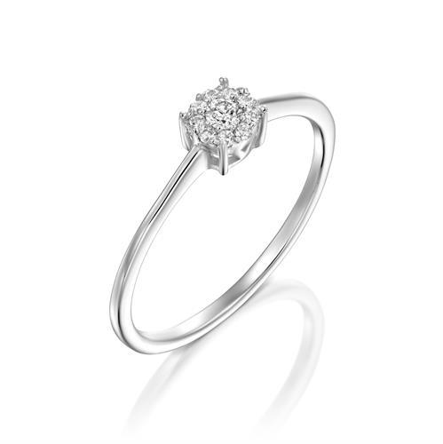 טבעת אהבה שמימית משובצת יהלומים בזהב לבן 14 קראט