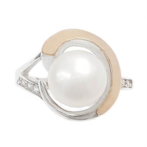 טבעת כסף מצופה זהב 9K משובצת פנינה לבנה  RG8635 | תכשיטי כסף | טבעות כסף