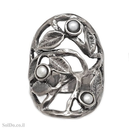 טבעת מכסף מעוצבת משובצת פנינים  RG6277   תכשיטי כסף 925   טבעות כסף