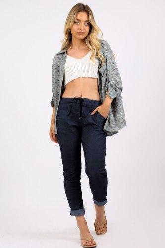 מכנס קפרי כותנה צבע גינס