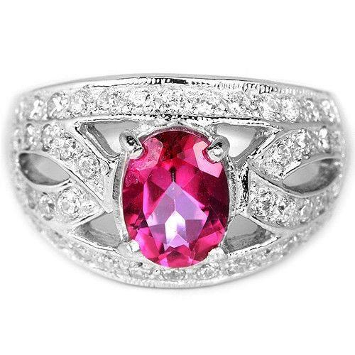 טבעת כסף משובצת טופז ורוד וזרקונים RG5617 | תכשיטי כסף 925 | טבעות כסף