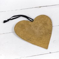לב שטוח ממתכת - זהב חלודה (גודל L)