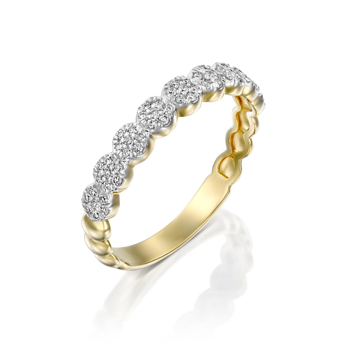 טבעת מחול היהלומים משובצת יהלומים בזהב לבן או צהוב 14 קראט