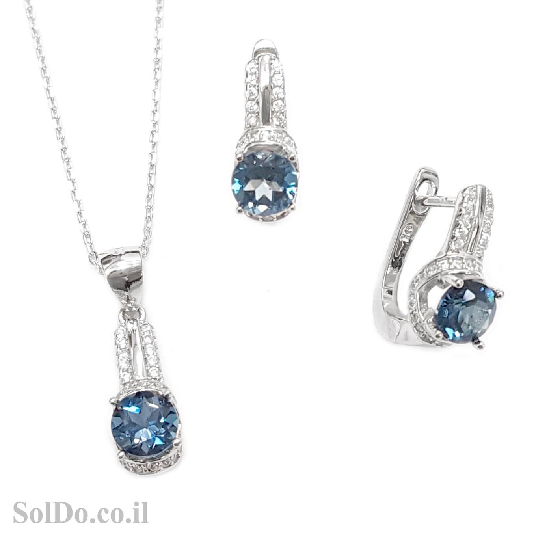 עגילים ותליון מכסף משובצים אבני טופז כחולה וזרקונים S1595