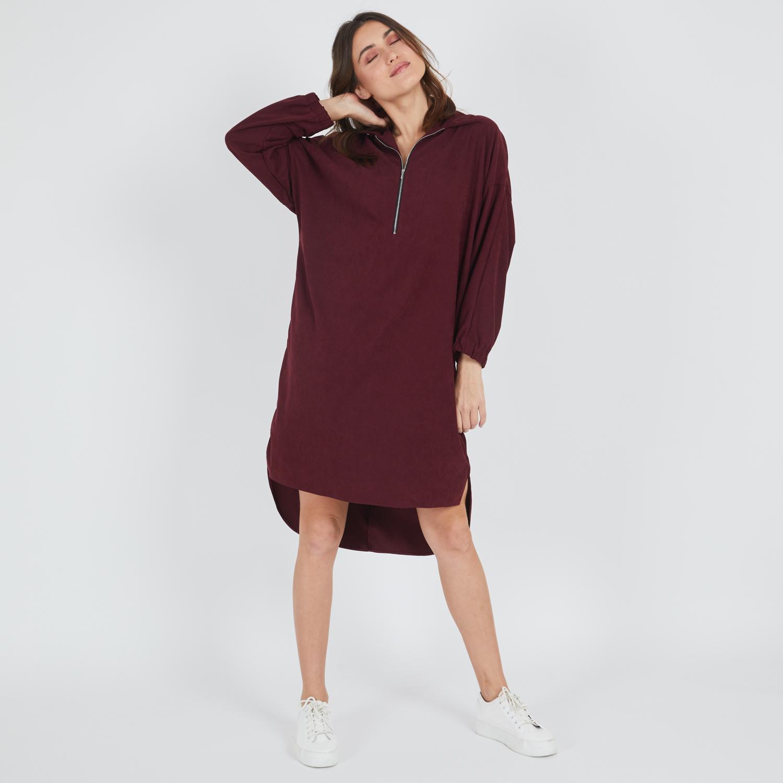 שמלת סלין בורדו