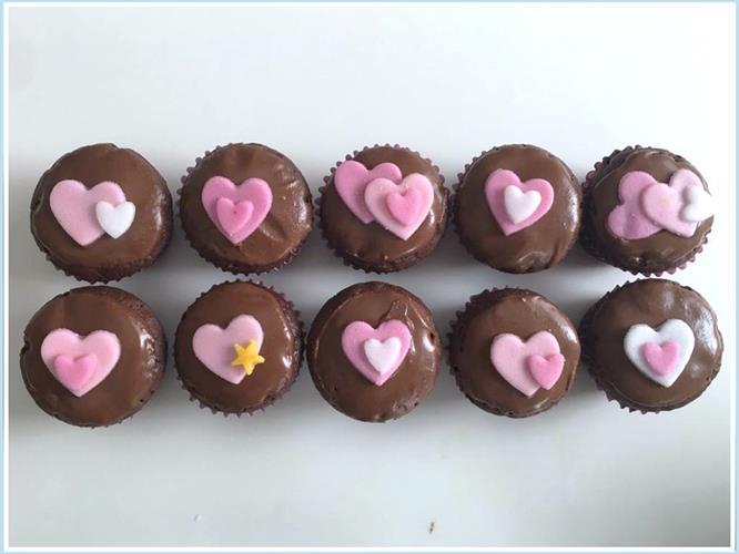 מיני קאפקייקס שוקולד לבבות