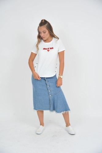חצאית גינס ארוכה כפתורים