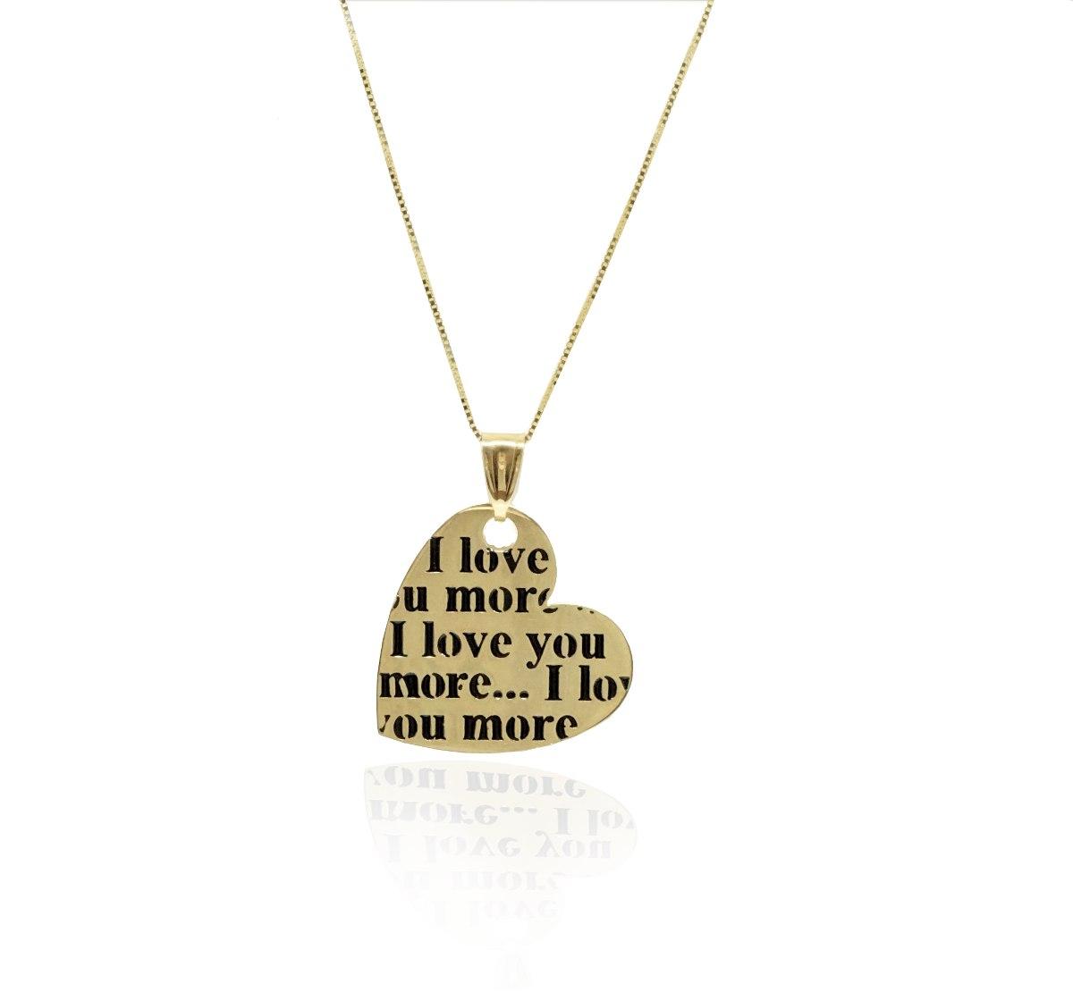 שרשרת לב זהב לאישה עם כיתוב I LOVE YOU MORE
