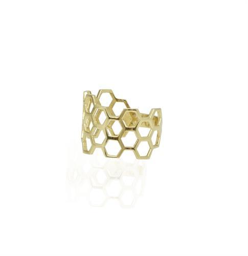 טבעת זהב כוורת - טבעת כוורת רחבה מזהב