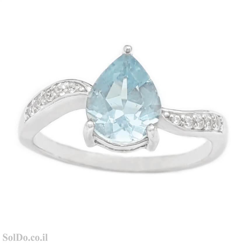 טבעת מכסף משובצת אבן טופז כחולה וזרקונים RG6127 | תכשיטי כסף 925 | טבעות כסף