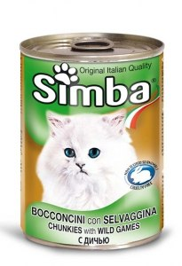 שימור מזון מלא לחתולים סימבה עם בשר ציד 400 גרם - SIMBA CHUNKS WITH WHILE
